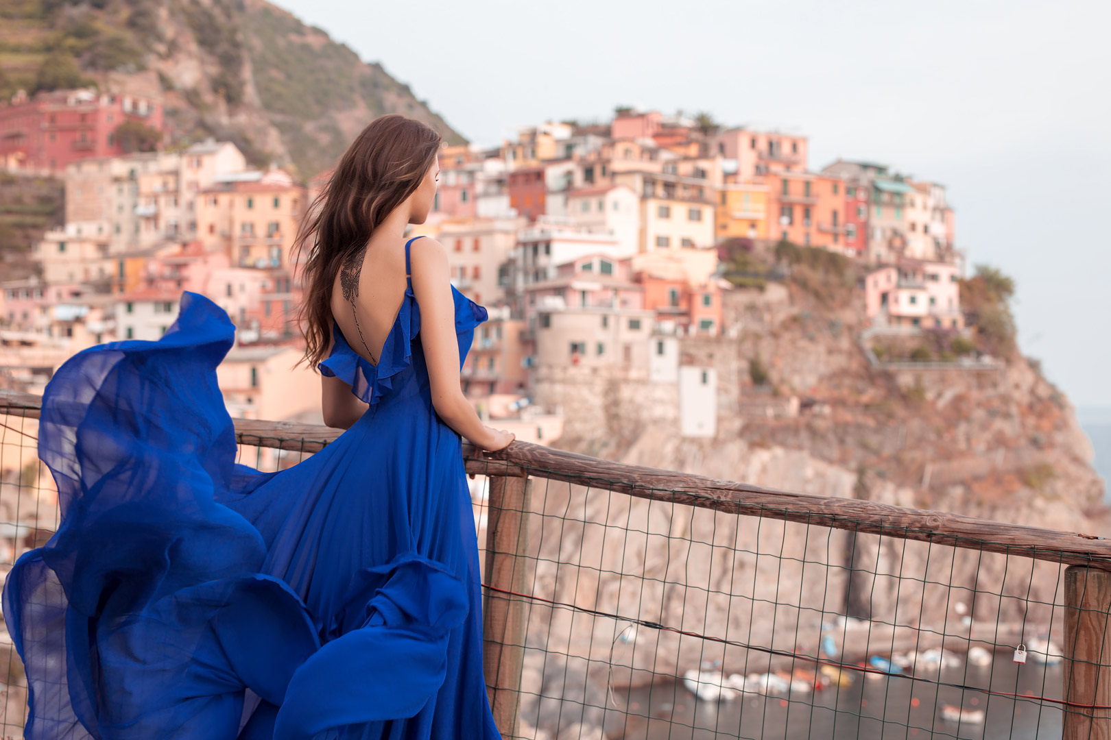 Dream portrait session experience in Italy woman in blue dress Cinque Terre