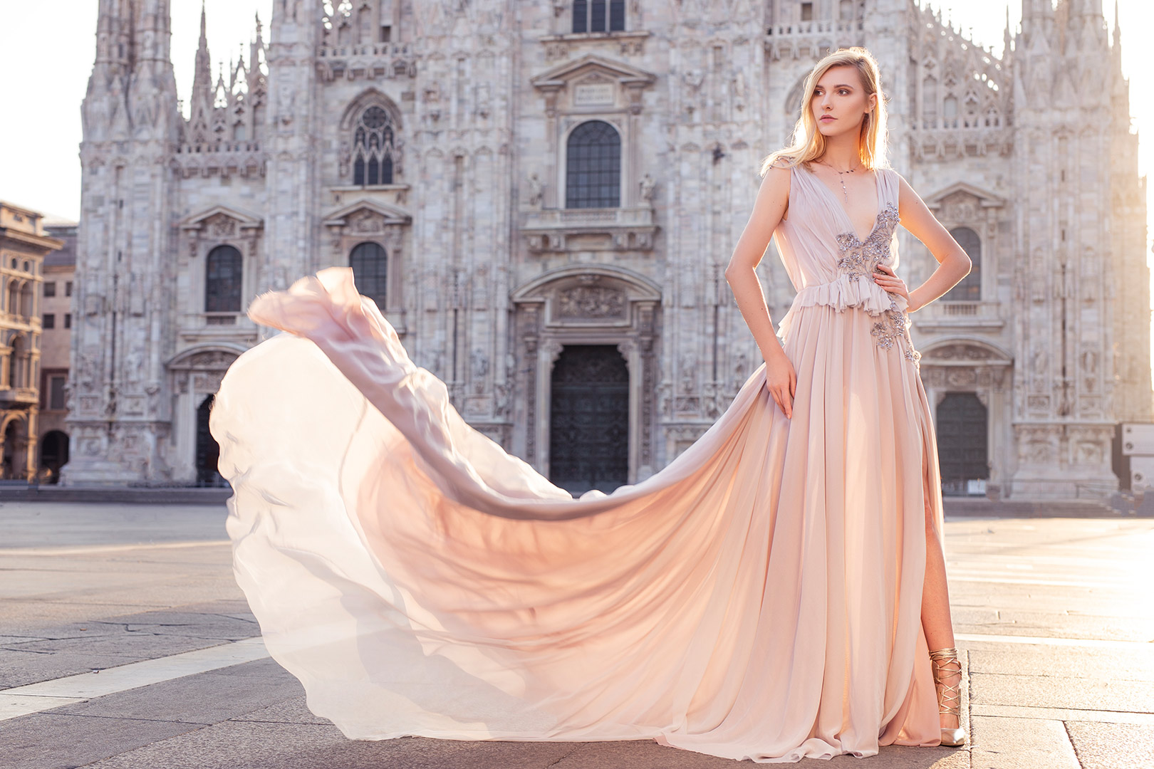 Dream portrait session experience in Milan Italy in elegant dress