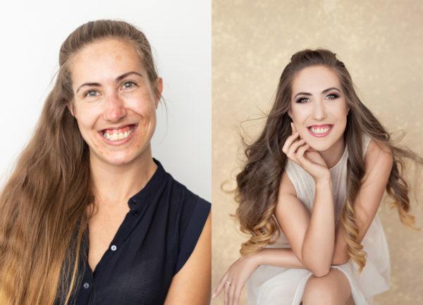 Efekt przed i po metamorfozie podczas sesji zdjęciowej
