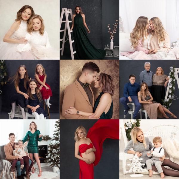 Siatka zdjęć świątecznych wykonanych w studio Atelier Natalia Łowicka